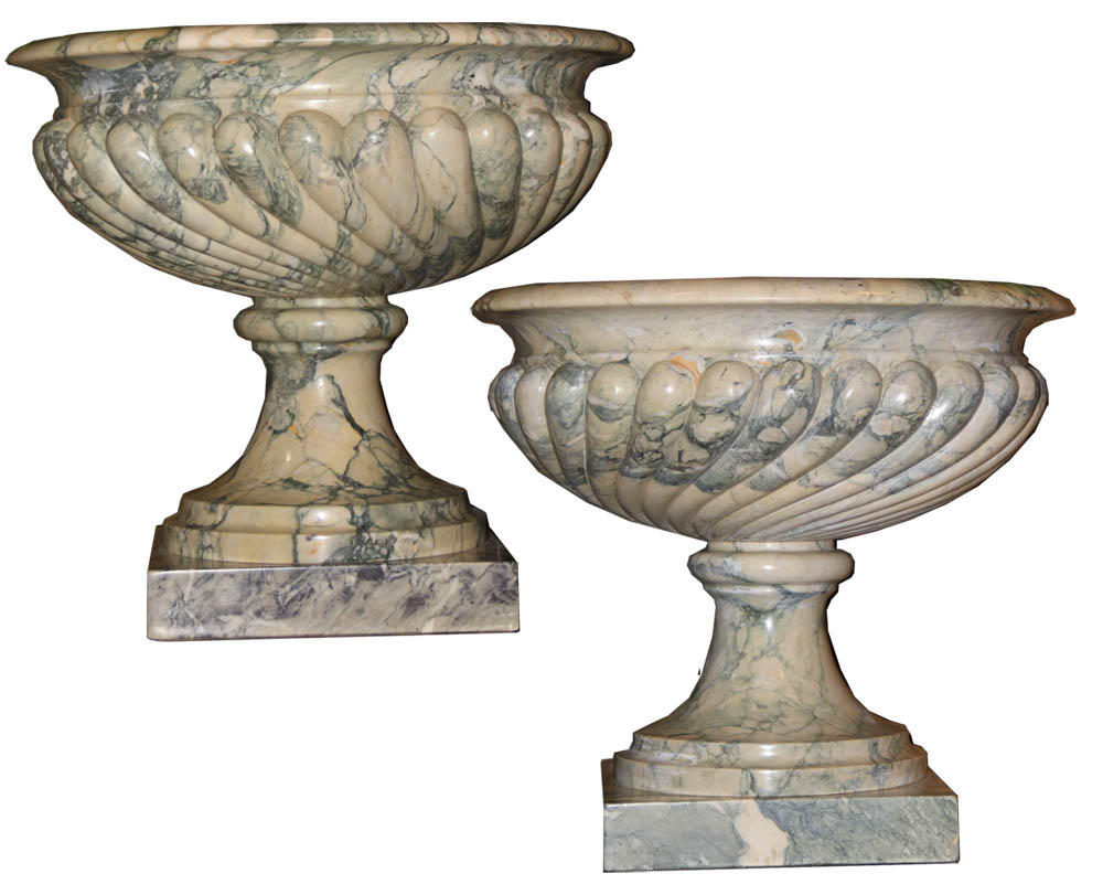 A Palazzo Scaled Pair of Green and Grey Solid Marble Tazza Urns No. 3648