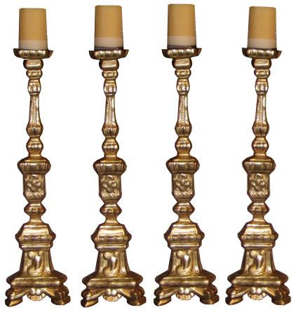 A Rare Set of Four Matching 18th Century Giltwood Pricket Sticks No. 3658