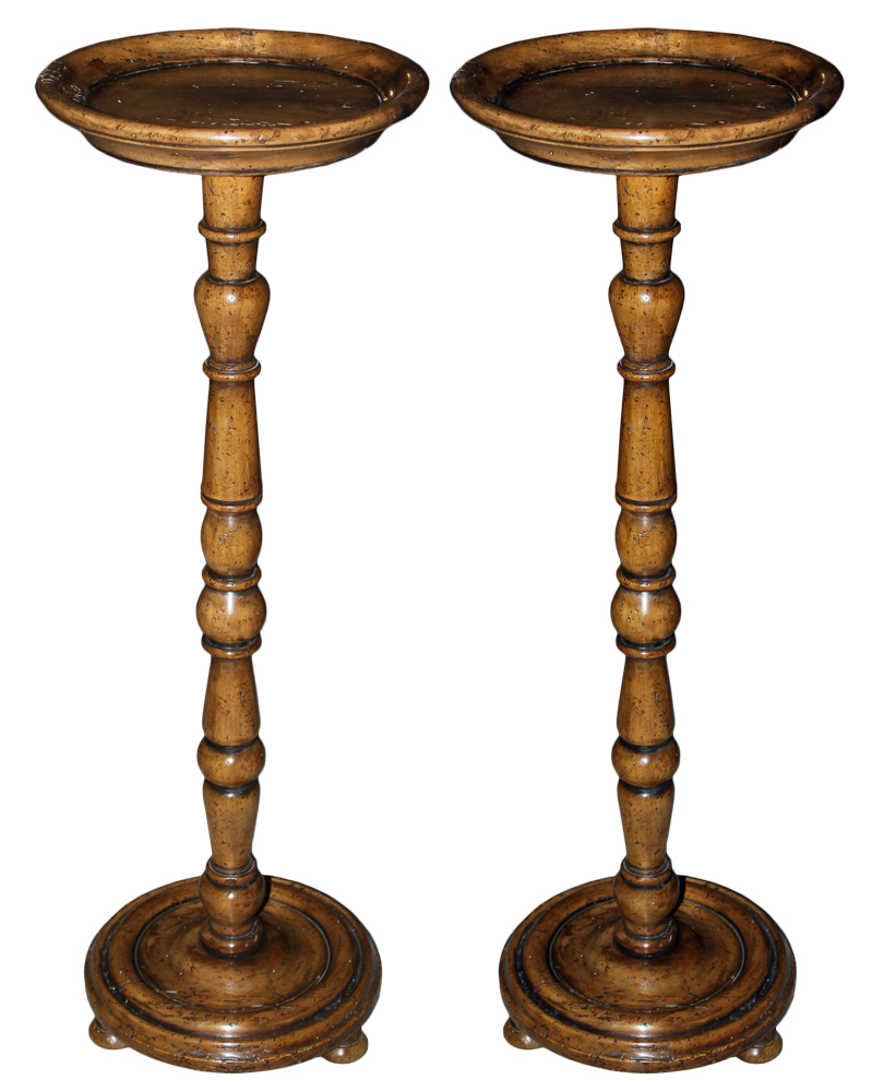 A Pair of 18th Century Italian Walnut Candle Stands No. 3688
