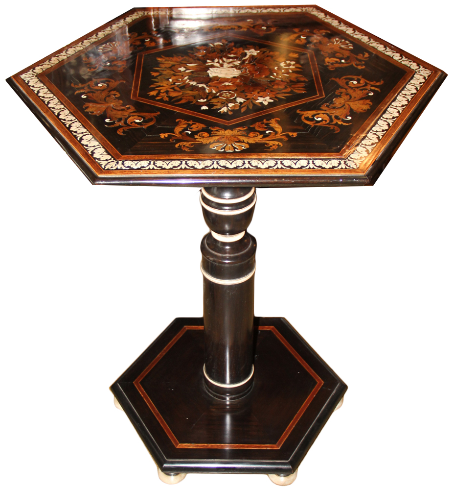 An Unusual 18th Century Italian Ebony and Bone Hexagonal Marquetry Side Table No. 3694