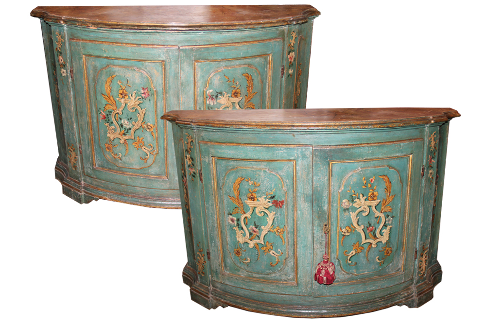 A Magnificent Pair of 18th Century Polychrome Serpentine Credenzas No. 3711