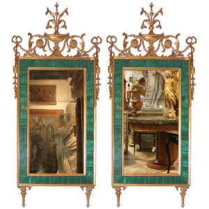 A Magnificent Pair of 18th Century Russian Louis XVI Malachite and Giltwood Pier Mirrors No. 3722