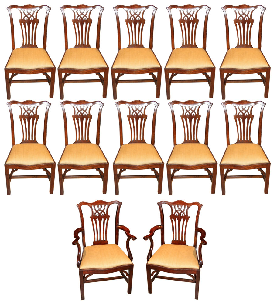 A Set of 19th Century English Mahogany Chinese Chippendale Dining Chairs No. 3769