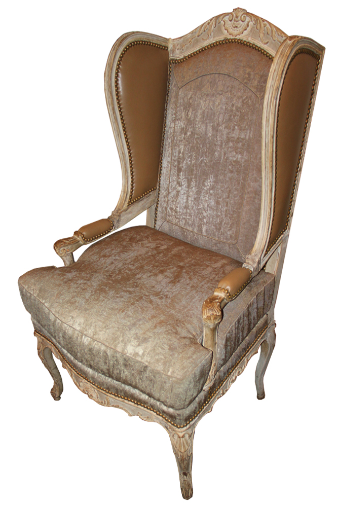 A Louis XV Fauteuil Polychrome Wing Chair No. 3782