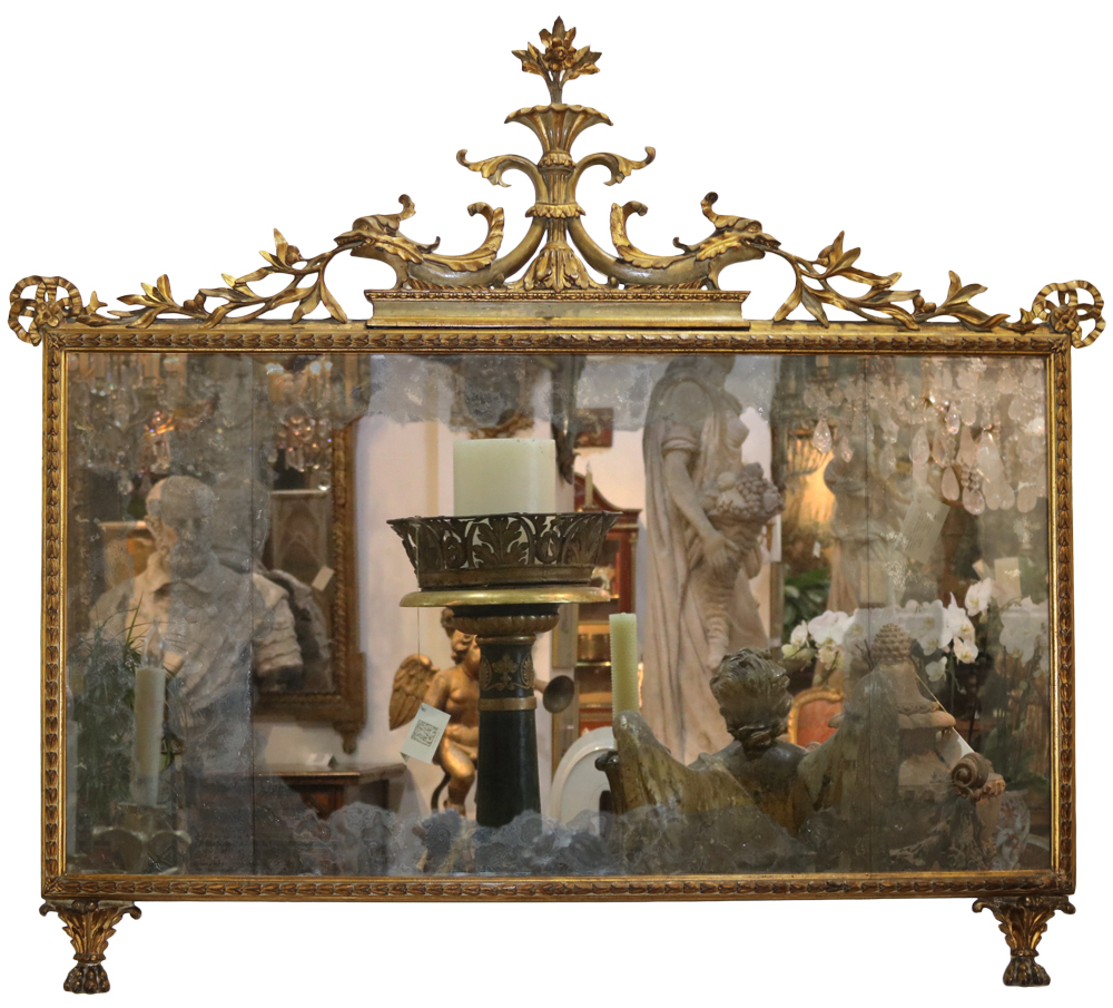 An 18th Century Italian Giltwood and Polychrome Sopraporta Mirror No. 3854