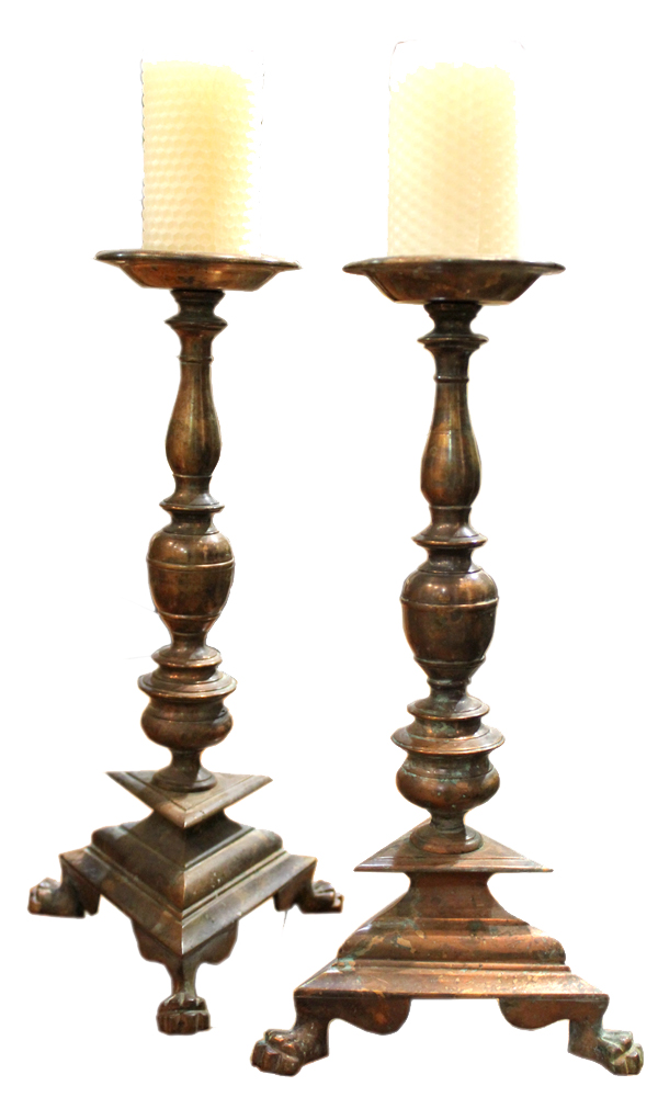 A Pair of Beautifully Patinated 17th Century Italian Brass Candlesticks No. 3878
