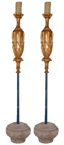 A Boldly Overscaled Pair of 18th Century Carved Gilt Torchères No. 2454