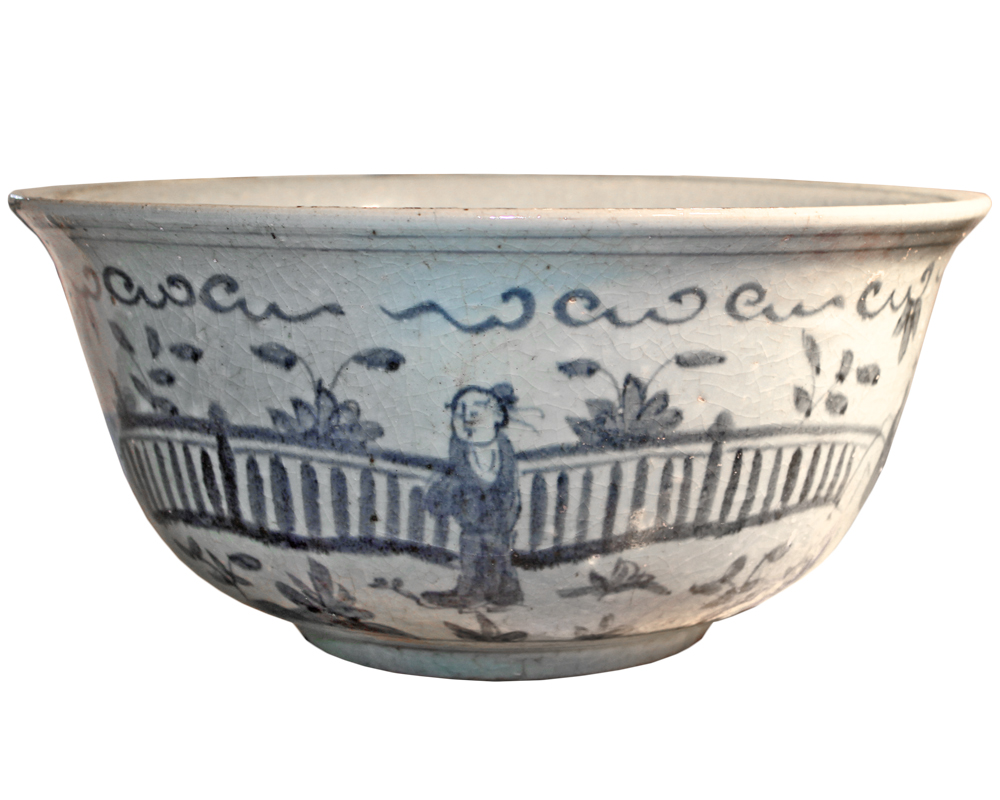 A Large 19th Century Rustic Chinese Blue and White Glazed Bowl No. 4022