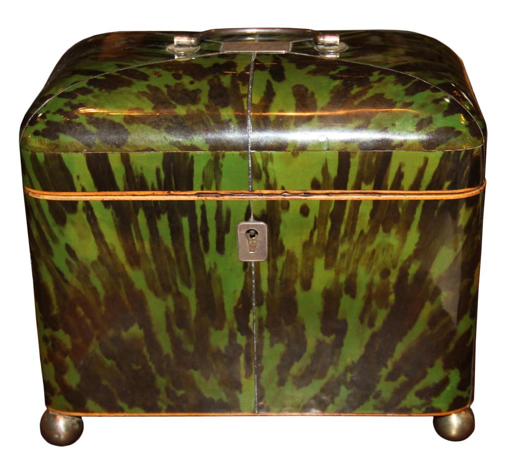 A Rare and Unusually Large 18th Century Deep Green Tortoiseshell English Tea Caddy No. 4043