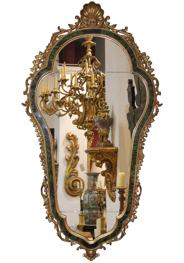 A Rare 18th Century Italian Green Tortoiseshell and Giltwood Mirror No. 4052