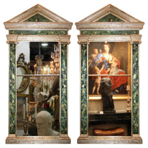 A Pair of 19th Century Italian Faux Marble and Silver Leafed Pier Mirrors No. 4149