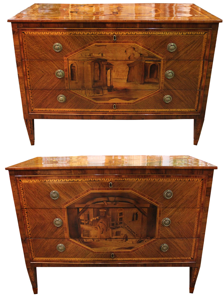 An Extraordinary and Rare Pair of 18th Century Milanese Commodes No. 4284
