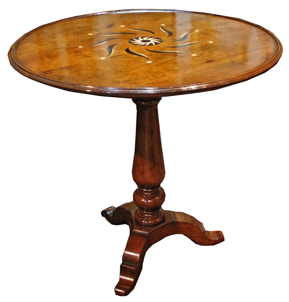 A Unique 18th Century Tuscan Walnut, Bone and Ebony Marquetry Side Table No. 4305