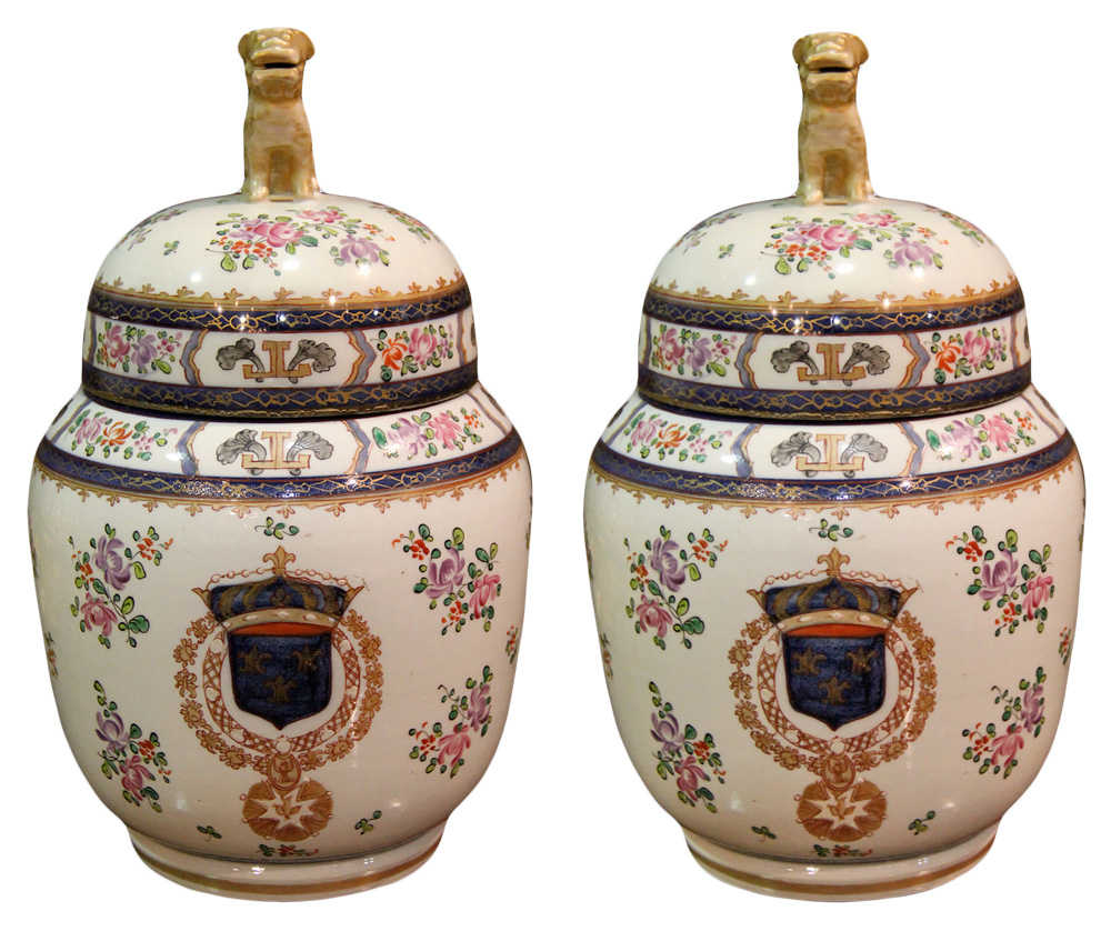 A Pair of 19th Century Chinese Export Hand Painted Porcelain Jars No. 4388