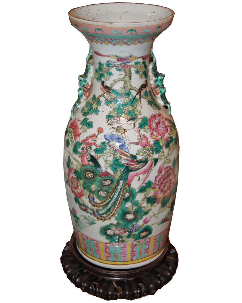 A 19th Century Chinese Porcelain Famille Verte Vase No. 4389