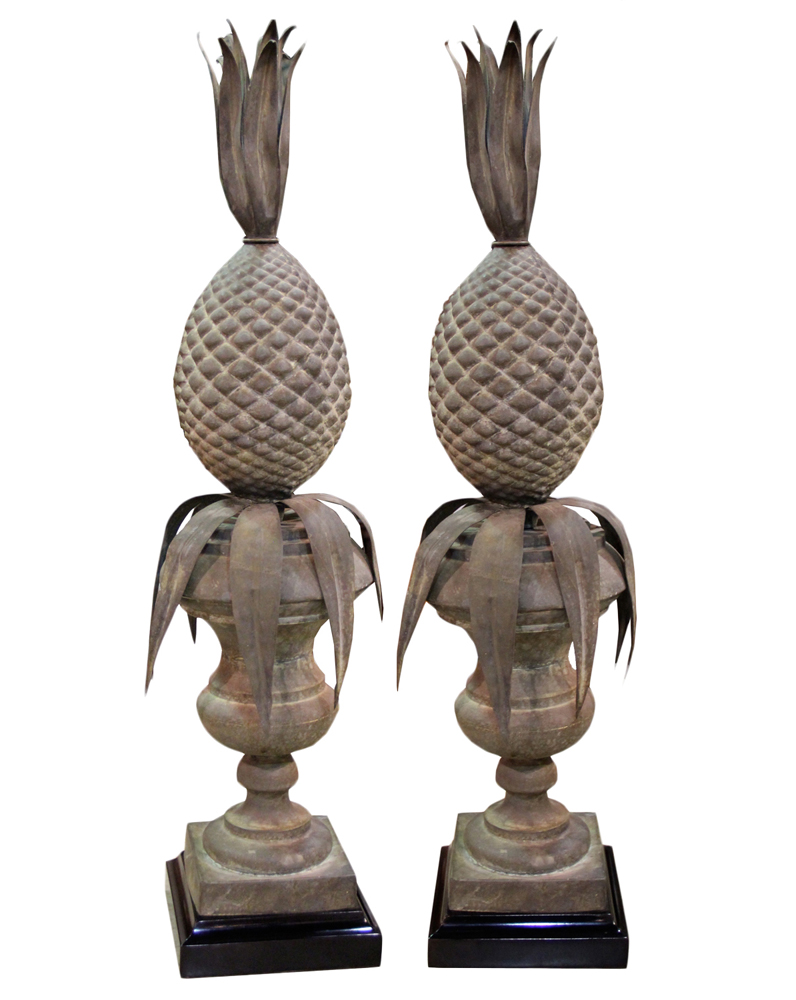 A Pair of 19th Century Italian Patinated Brass Pineapple Finials No. 4405