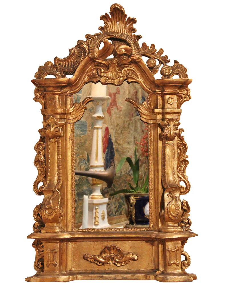 An Unusual 19th Century Italian Giltwood Mirror No. 4419