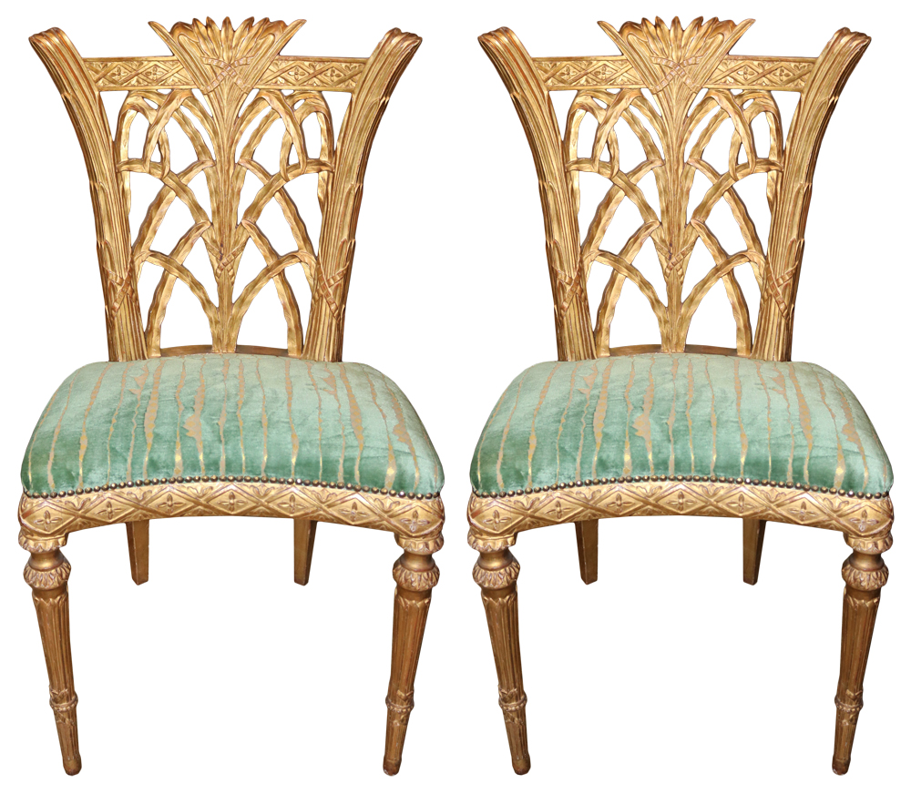 A Rare Pair of Late 18th Century English Giltwood Side Chairs No. 4444