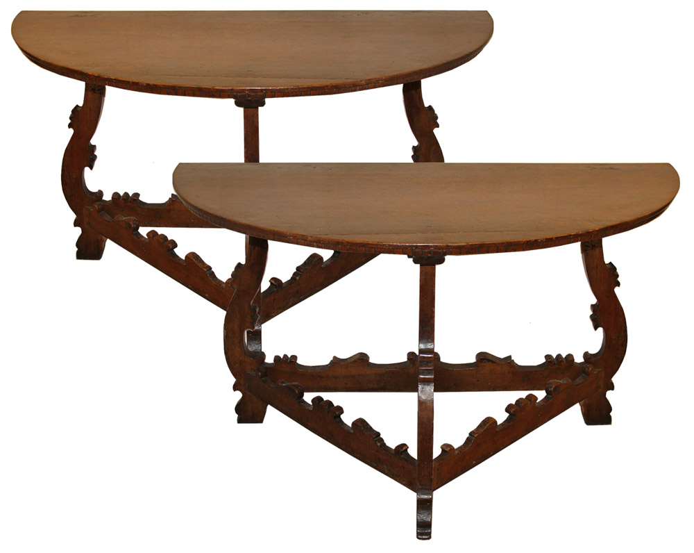 A Pair of 18th Century Tuscan Demilune Walnut Consoles No. 4447
