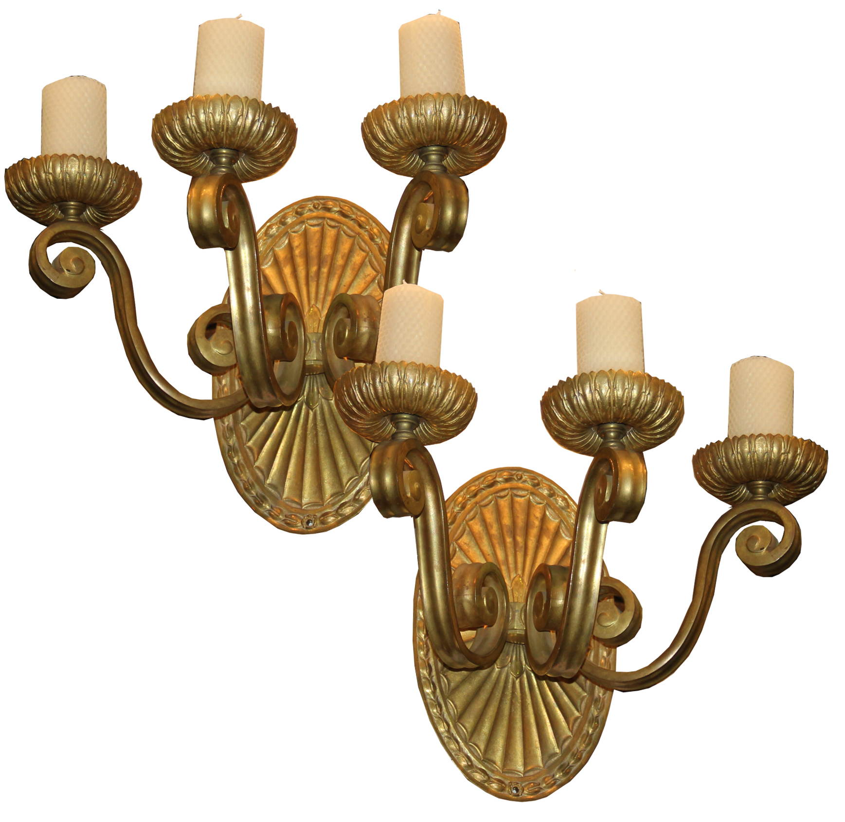 A Pair of 19th Century Italian Brass Wall Sconces No. 4458
