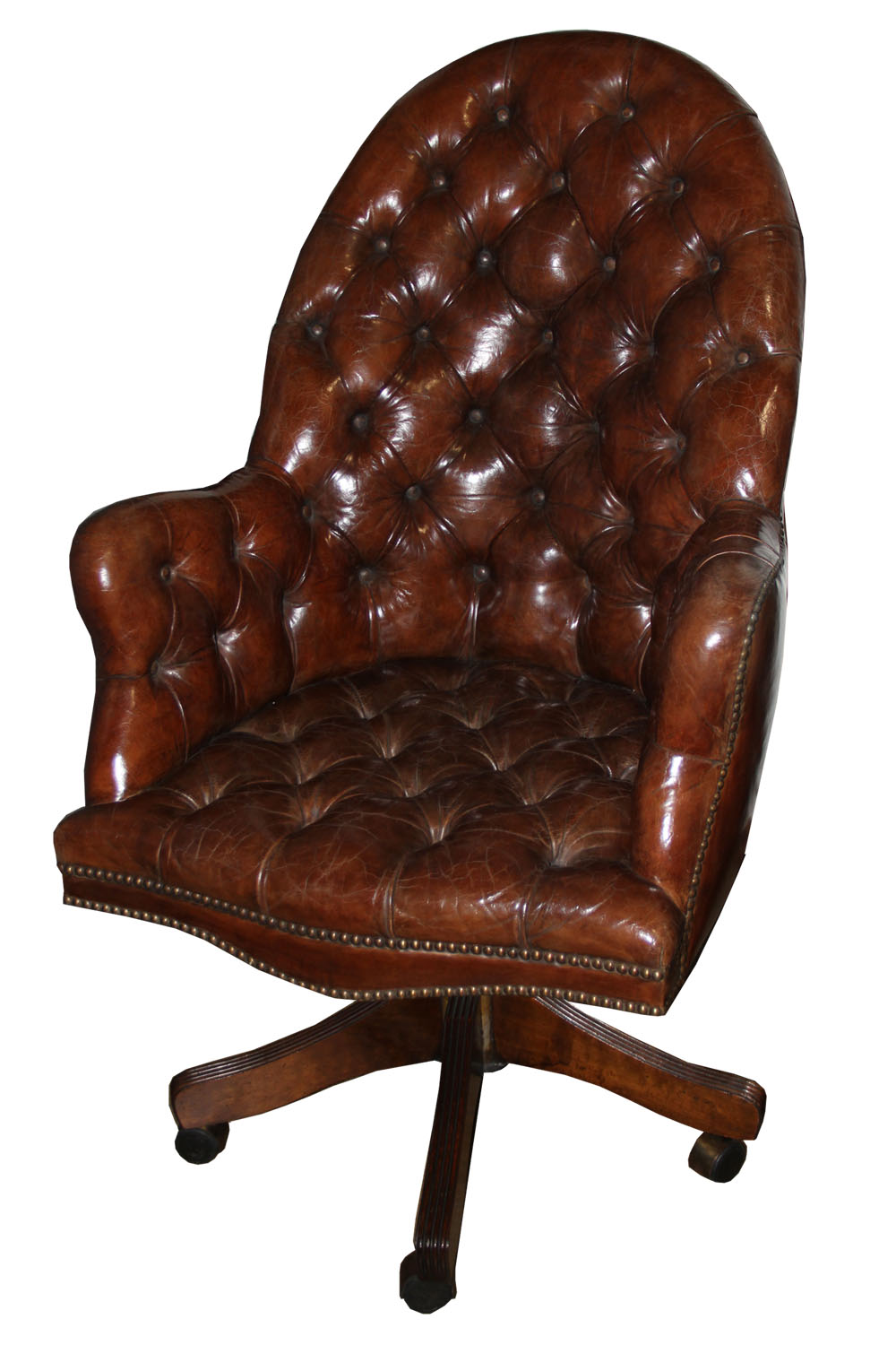 From the Mariani Privé Custom Workshop, A Classic English Tufted and Adjustable Swivel Desk Chair No. 4466