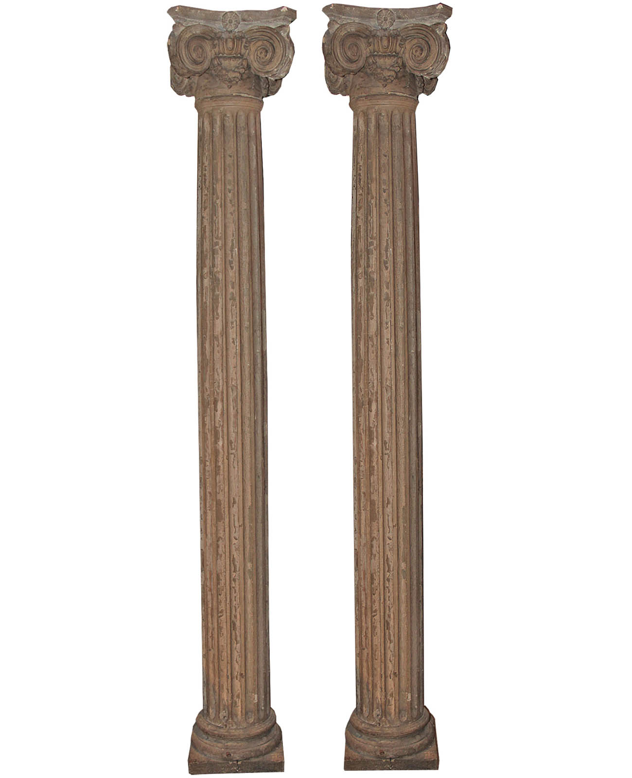 A Pair of 18th Century Louis XVI Fluted Pine Columns No. 4474