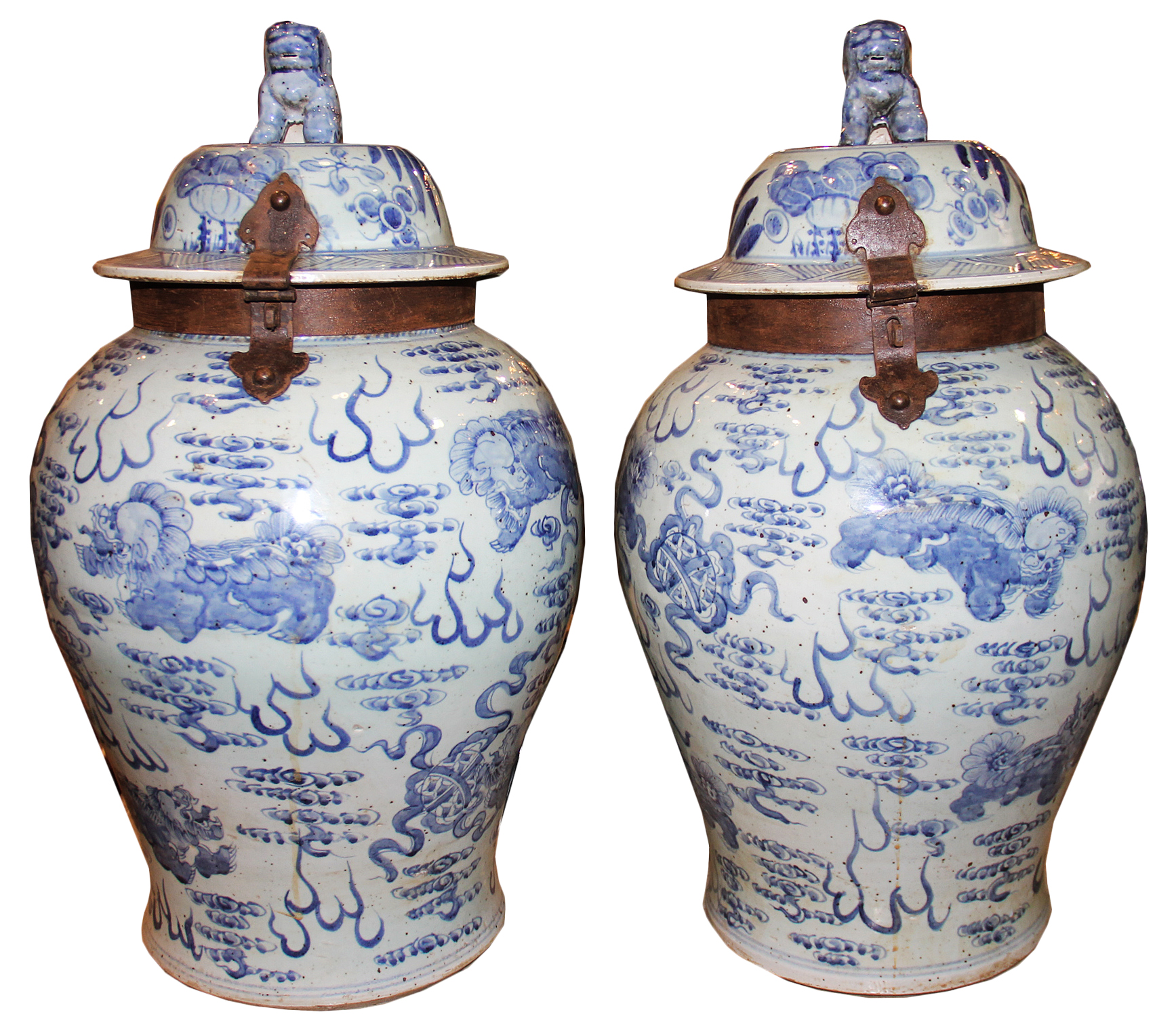 An Unusual Pair of 19th Century Chinese Export Hand Painted Porcelain Jars No. 4482