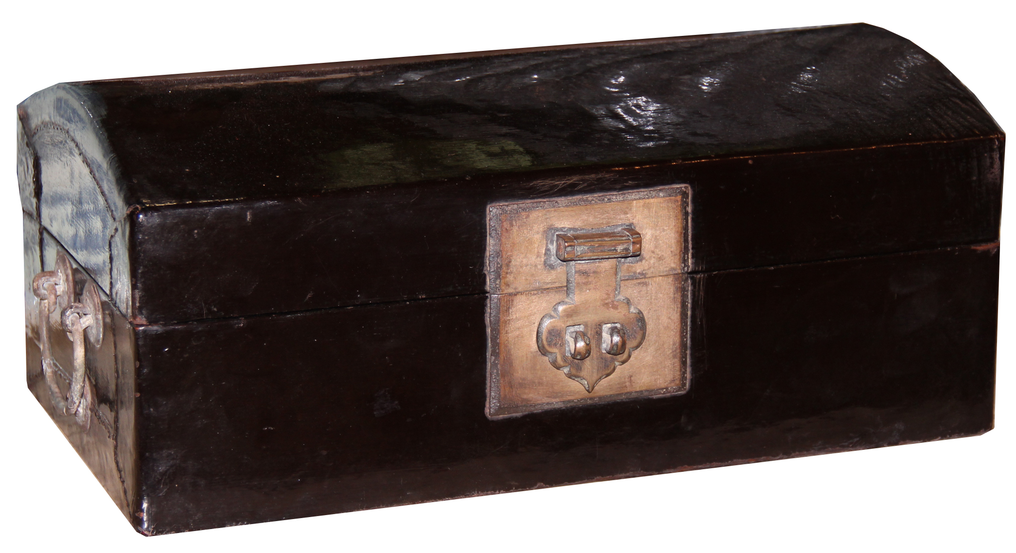 A 19th Century Chinese Black Lacquered Pigskin on Wood Valuables Box 4488