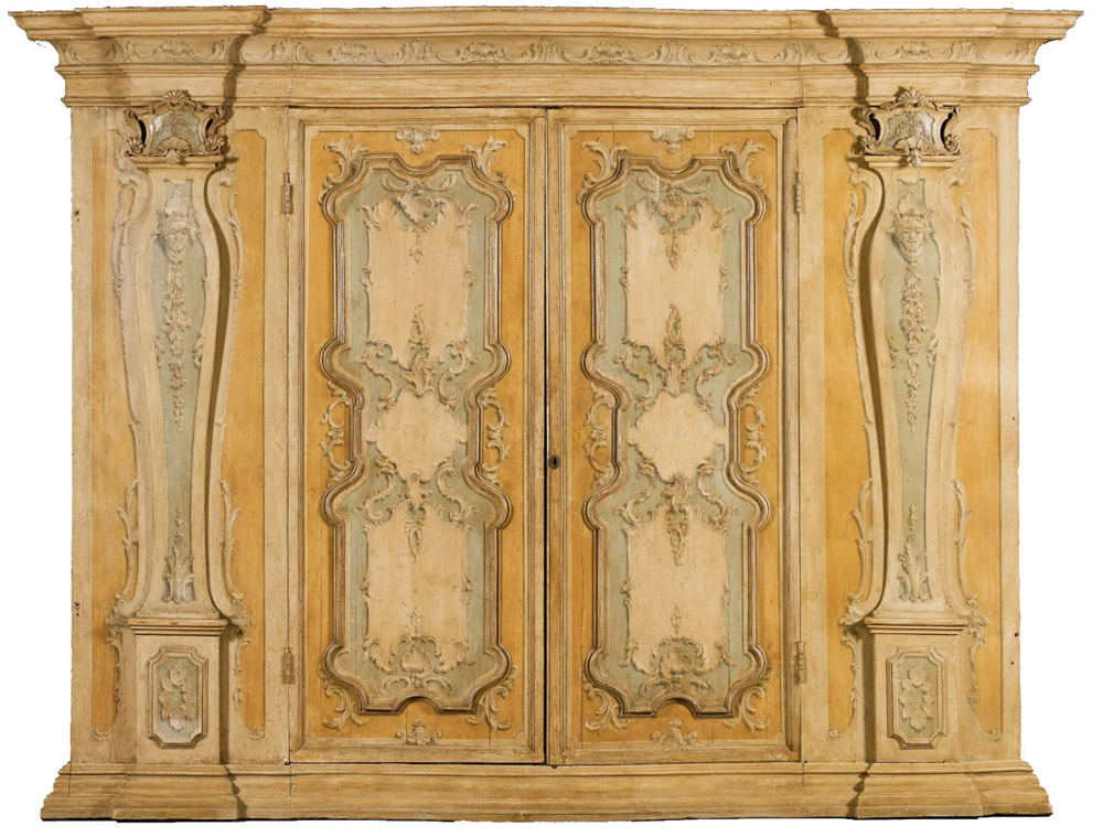 An Important and Striking 18th Century Venetian Carved Polychrome Armoire No. 4496