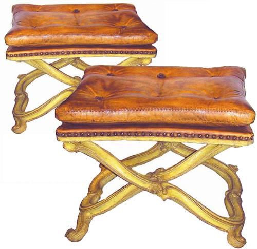A Pair of 19th Century Italian Polychrome Tabourets No. 1272