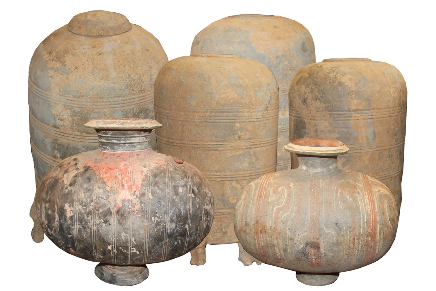 A Collection of Six Chinese Han Dynasty Earthenware Jars No. 4500