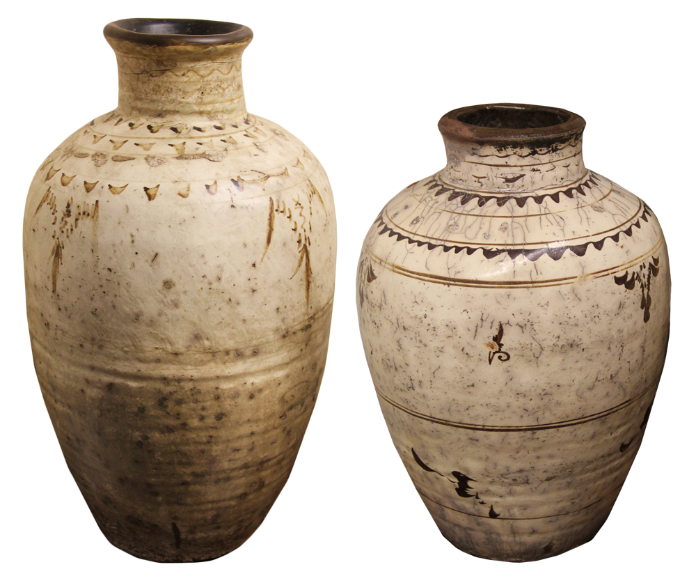 A Set of Two 19th Century Glazed Earthenware Jars No. 4518