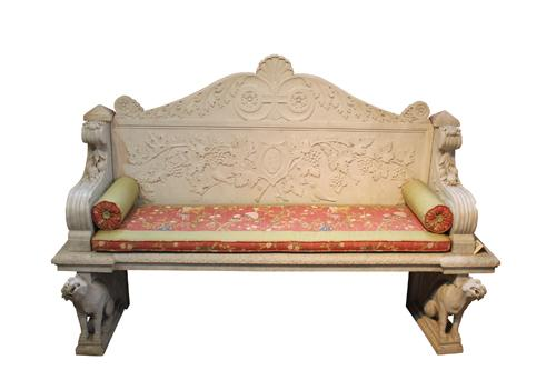 An 19th Century Italian Carrara Marble Garden Bench No. 236