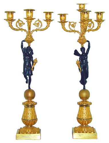 A Pair of 19th Century Italian Neoclassical Gilt & Patinated Bronze Winged Figural Candelabras No. 1057