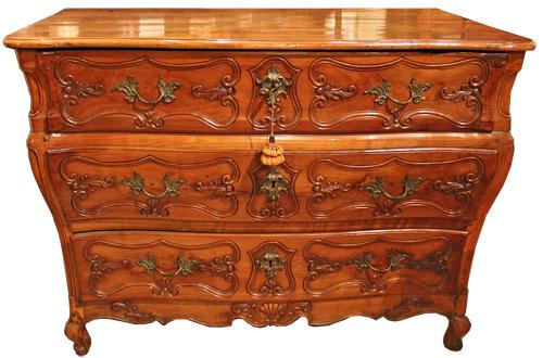 An 18th Century Louis XV Cherry Reverse en Tombeau Commode No. 1914