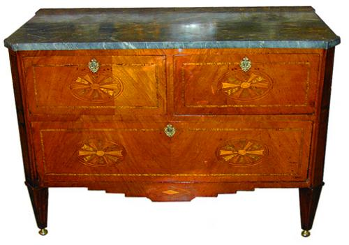 A Continental Cherry Wood Three Drawer Commode No. 1839