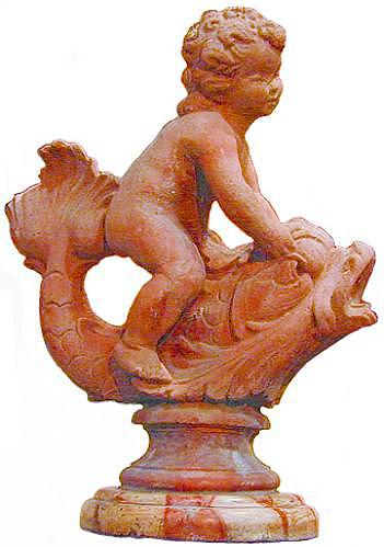 A Whimsical Early 19th Century Terra Cotta Fountain Ornament of a Boy on a Dolphin No. 2296