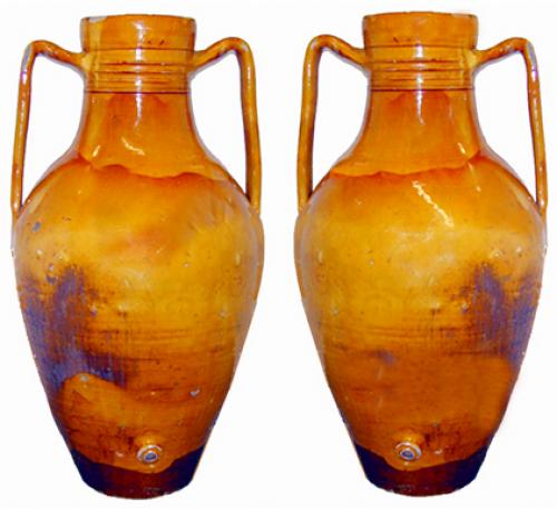 A Pair of Boldly Scaled Italian Olio Earthenware Amphorae No. 2291