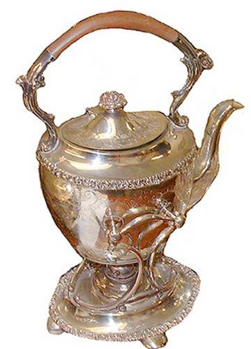 An Elegant 19th Century Silvered and Chased Tea Pot No. 2514