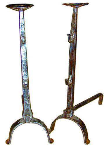 A Pair of 17th Century French Hand-Forged Wrought Iron Andirons No. 1982