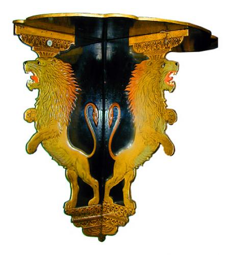 A Rare Pair of 19th Century English Regency Black Lacquer & Parcel-Gilt Papier-Mâché Sconces No. 788