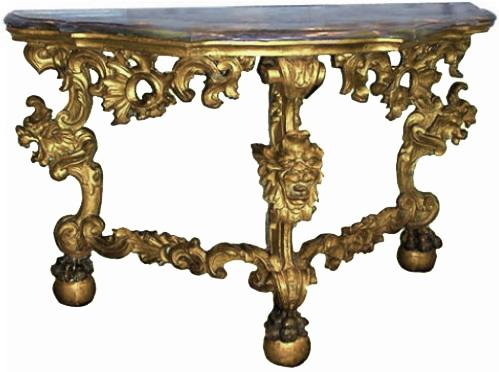 A Rare and Fine 18th Century Italian Giltwood Marble Top Console No. 368