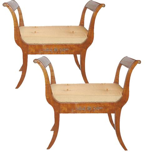 A Sophisticated Pair of Late 18th Century Italian Directoire Curule Walnut Benches No. 2403
