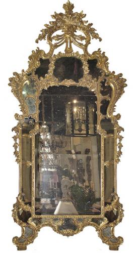An Elaborately Carved 18th Century Italian Giltwood Rococo Mirror No. 1004