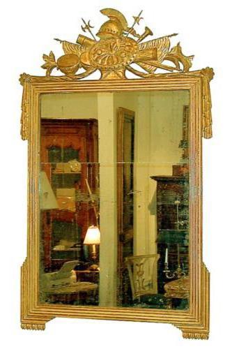 A Fine 18th Century French Louis XVI Giltwood Trophy Mirror No. 994