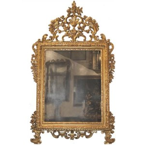 A Fine Highly Carved 18th Century Italian Louis XV Giltwood Mirror No. 934