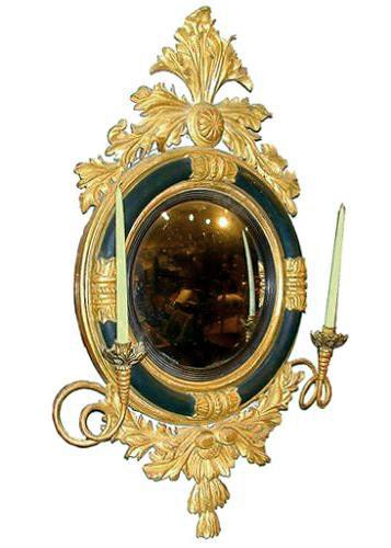 A 19th Century English Regency Carved, Ebonized and Parcel-Gilt Convex Mirror No. 528
