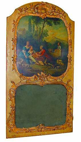 An Extremely Rare 18th Century French Louis XV Trumeau Mirror No. 76