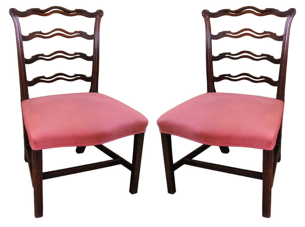 A Pair of 18th Century English Ladder-back Mahogany Side Chairs No. 855