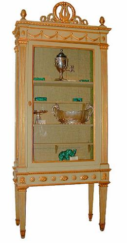 A Stately 18th Century Parcel-Gilt and Polychrome Italian Louis XVI Vitrine No. 2413